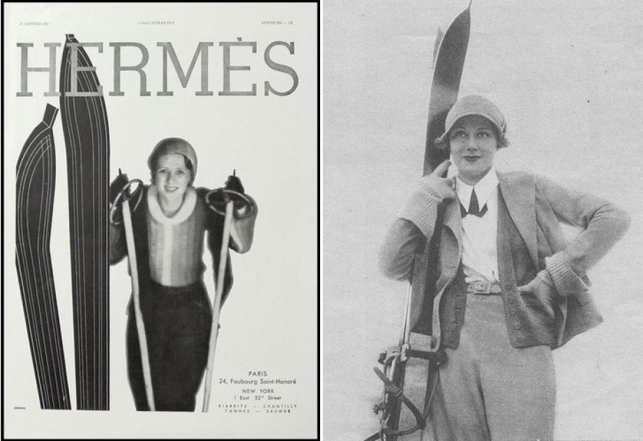(L) Hermes, 1931. (R) Jean Patou skiwear, 1931.