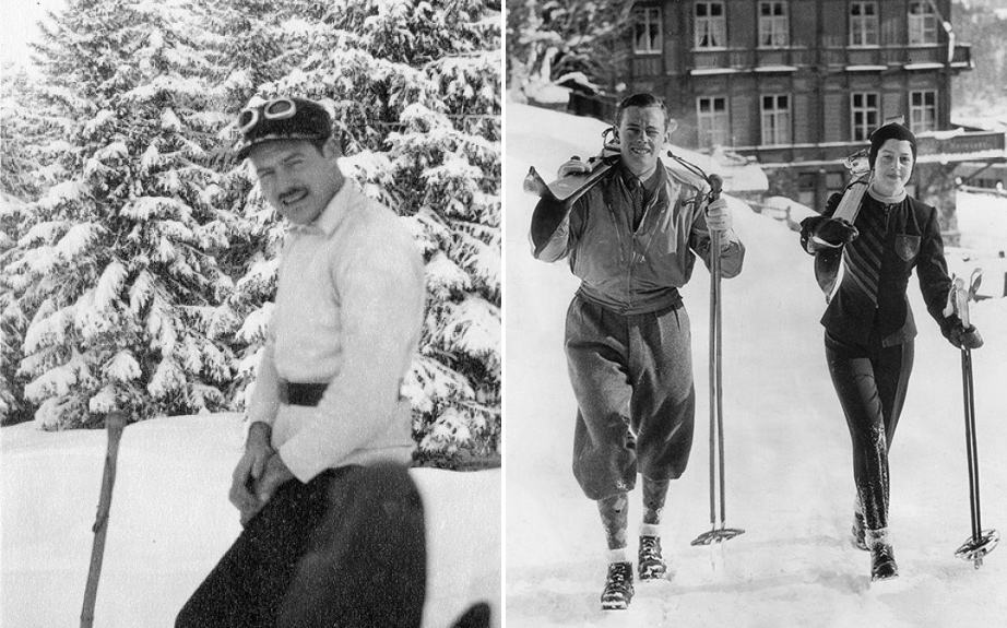 (L) Ernest Hemingway Skiing in Gstaad, Switzerland, 1927. (R) Princess Alexandria of Greece escorted by the Marquis of Milford Haven, St. Moritz, Switzerland, 1939.