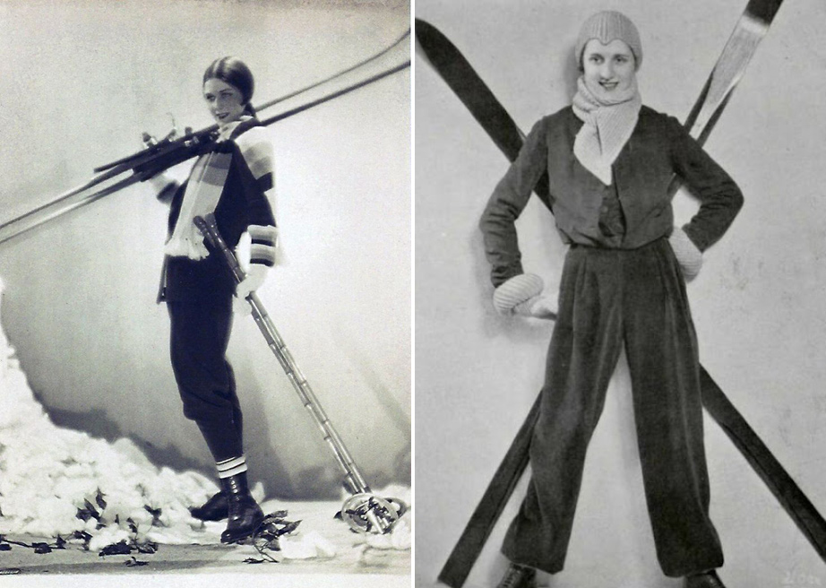 L) Ski outfit by the couturier Lucien Lelong, photo by Egidio Scaioni, 1927. (R) Designer skiwear by Madeleine Vionnet, 1930s.