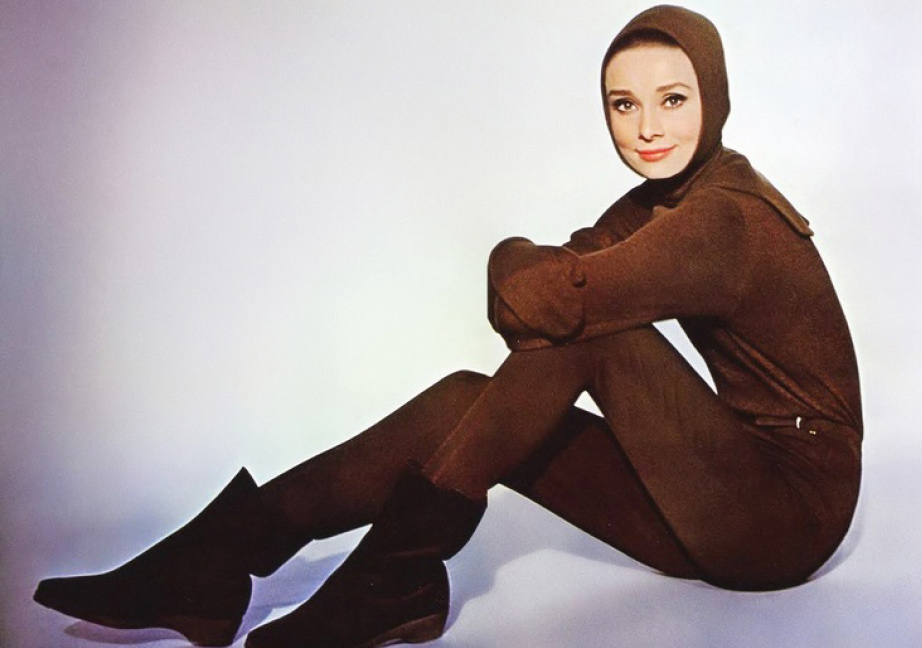 Promotional Picture of Audrey Hepburn for the film Charade, 1963. Audrey is wearing a brown ski outfit designed by Givenchy. Photo by Vincent Rossell.