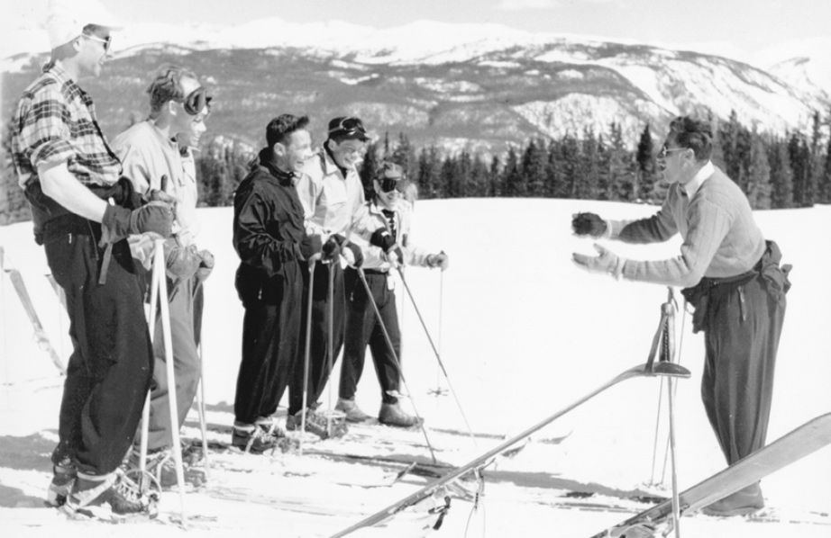 Klaus Obermeyer teaching skiing on Aspen Mountain just below the Sundeck restaurant, 1948.