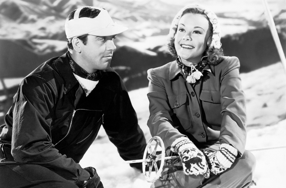 Ski clothes by Fred Picard for Sonja Heine and John Payne in Sun Valley Serenade, 1941.