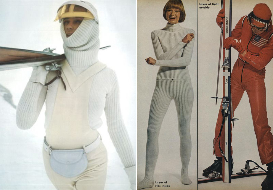 (L) Pierre Cardin Outfit, 1971. (R) Courrèges Knit Suit, Vogue, 1972.