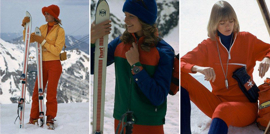 All Photos by Mike Reinhardt, Condé Nast, 1972. (L) Ski jacket & pants, both by Roffe, Sweaters by Demetre and gloves by Bonnie Cashin for Crescendoe, Hat by Brosseau, yellow shoulder bag by La Bagagerie. (M) Red, green and blue ski jacket with red ski pants, both by Bogner, Olympic Timer by Lafayette Watch, and a Glentex cap. (R) Red pullover with matching knickers from Ramah by Bass, Eiger mountain knicker socks, a Pennaco turtleneck, Mohawk ski gloves, and Acme Siren necklace by Donald Stannard.