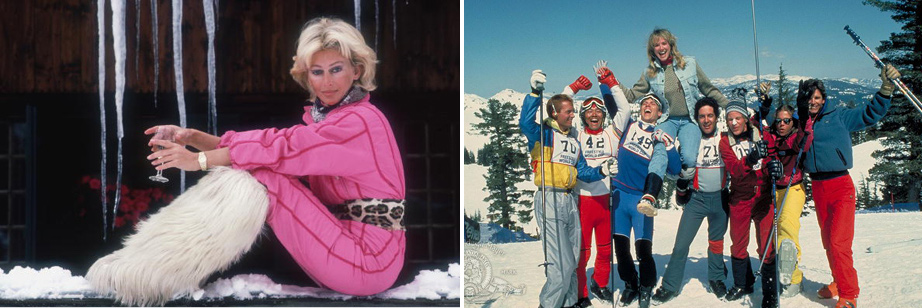 L) Princess Bianca Hanau-Schaumburg at her Gstaad chalet, Photo by Slim Aarons, 1985. (R) 31-Patrick Houser, David Naughton and Tracy Smith in Hot Dog... The Movie, 1984.