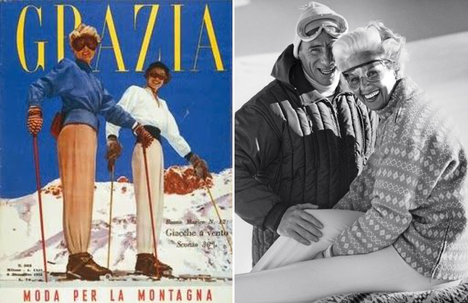(L) Bogner ski suit on the cover of Grazia Italia, Dec 1951. (R) Willy and Maria Bogner.