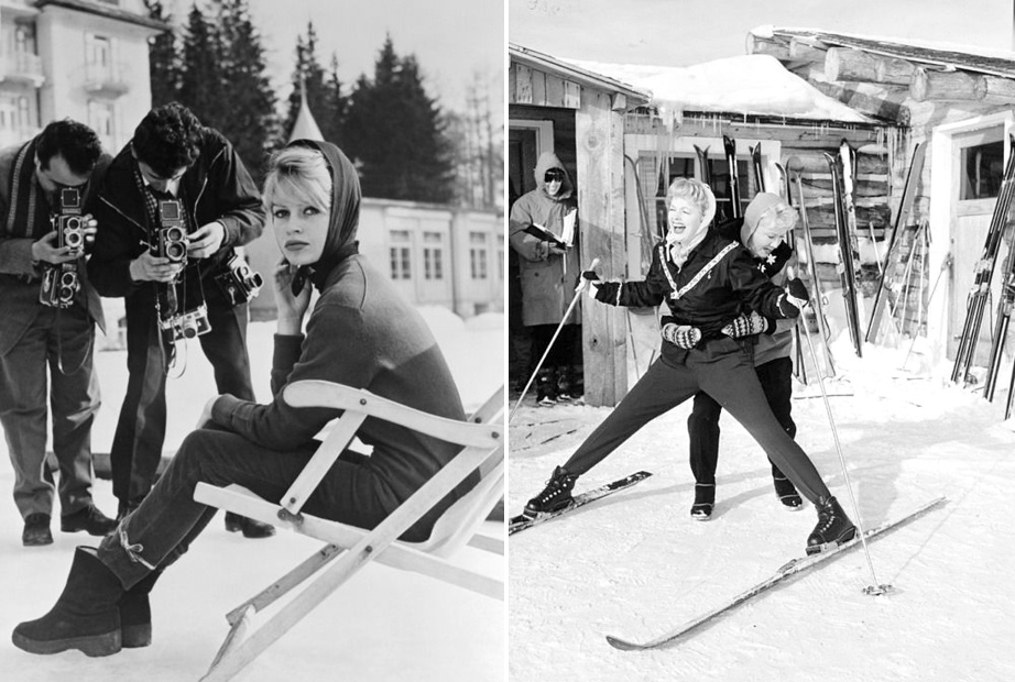 (L) Bridgette Bardot Skiing in France, 1950s. (R) Lucy & Ethel, 1950s.