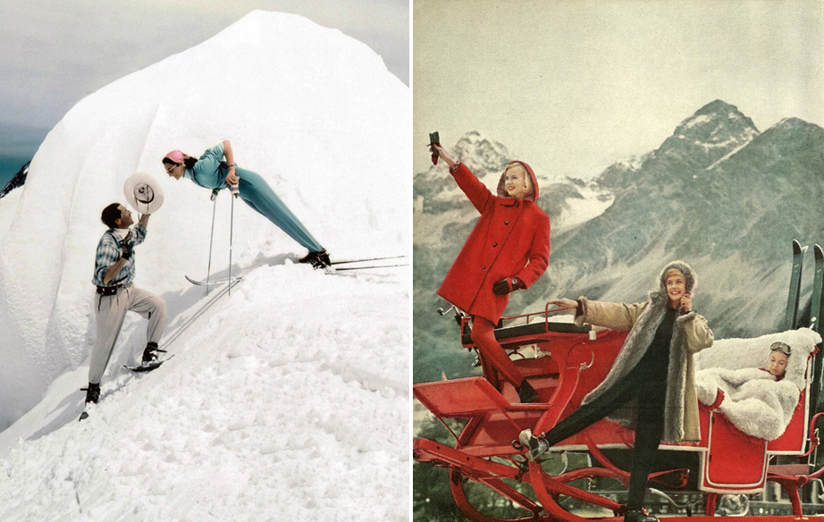 (L) Jacqueline de Ribes & Leo Gasperl, Photo by Victor Skrebneski in Cervinia, Italy, late 1950s. (R) Ski Wear Fashion Spread photographed in Switzerland for Mademoiselle Magazine, 1950s.