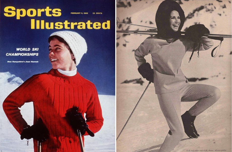 (L) Sports Illustrated, 1962. (R) Pink and White Mink Ski Suit by Ernst Engel, Vogue, November 1963.