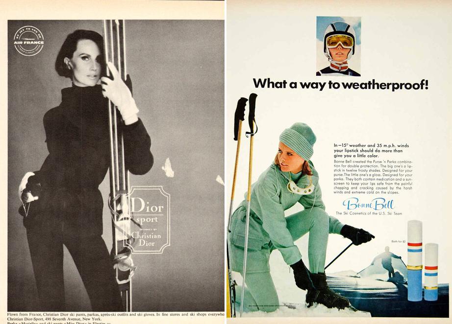 (L) Dior Sport Ad, 1964. (R) Bonne Bell Lipstick Ad featuring US Ski Team Ernst Engel Suit, 1967.