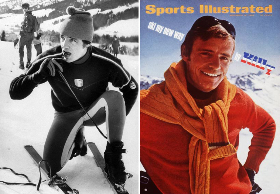 (L) Jean Claude Killy, 1960s. (R) Jean Claude Killy Sports illustrated, November 18 1968.