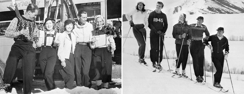 (L) Sun Valley, Jan 7 1939, Norma Shearer, Mrs. Howard Hawks and Minnie Barnes with ski instructors. (R) Mrs. Gary Cooper, Jack Hemingway, Ingrid Bergman, Gary Cooper and Clark Gable. 1946.