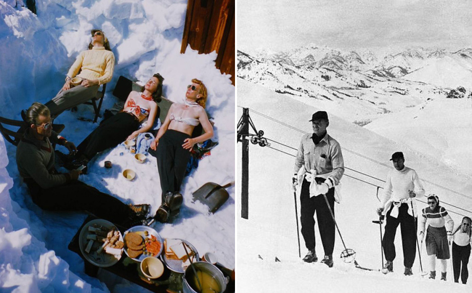 (L) Sun Valley 1946. Photo by George Silk. (R) Sun Valley, Mar 23 1946. Clark Gable and Mr. and Mrs. Gary Cooper going up the slopes.