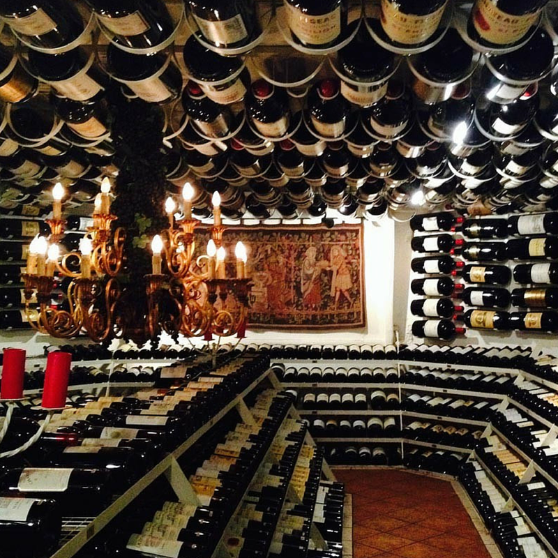 The wine cellar at Hospiz Alm with the biggest collection of large bottled Bordeaux wines in the world, ranging from 3–15 litres