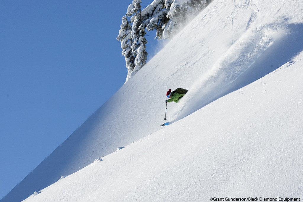 Angel Collinson skiing powder at Mt. Baker