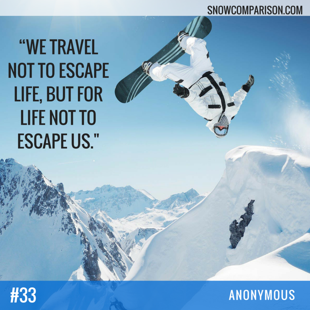 snowcomparison.com + inspirational life and travel quote