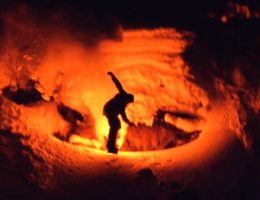 Snowcomparison.com + skiing with emergency flares national geographic