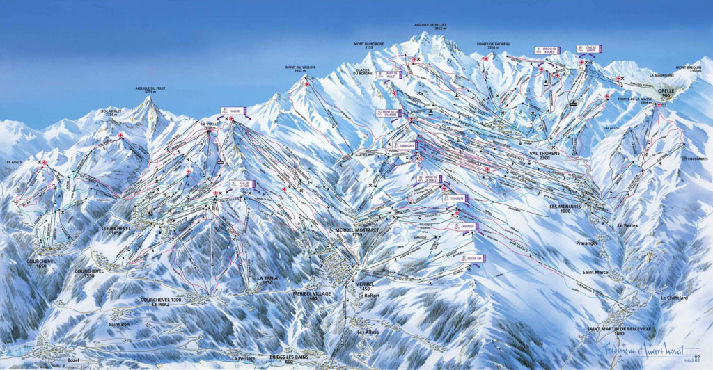 Les 3 Vallees Ski Area Map France